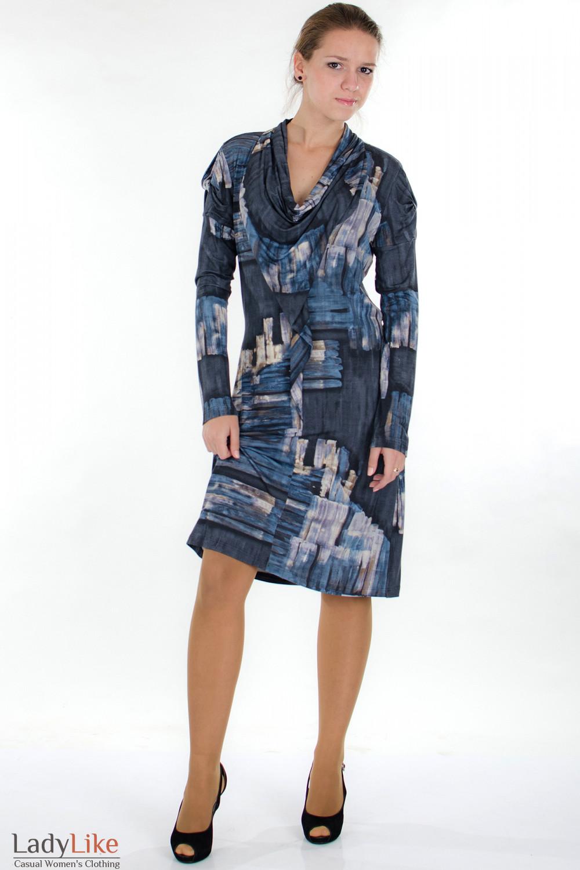 Платье модное синее Деловая женская одежда