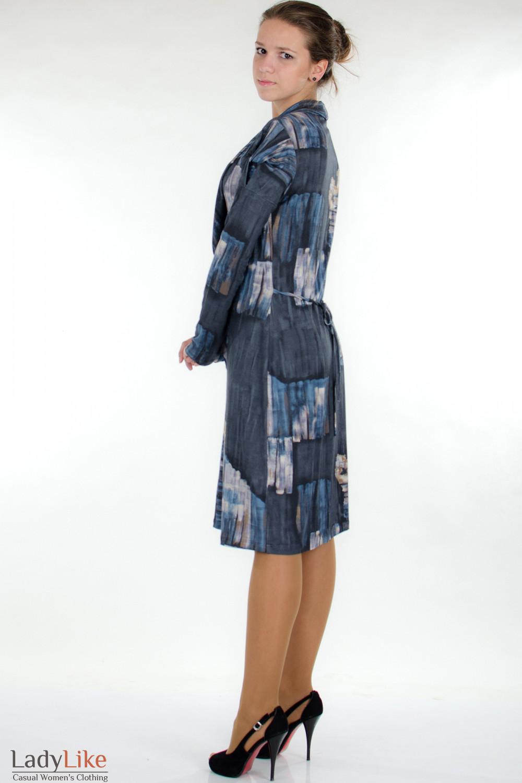 Платье модное синее вид сзади Деловая женская одежда