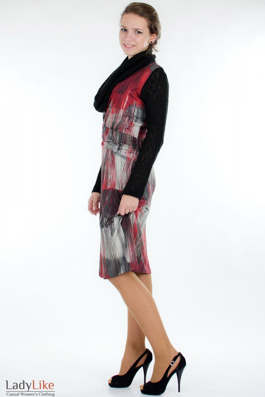 Платье с вязаными рукавами сбоку Деловая женская одежда