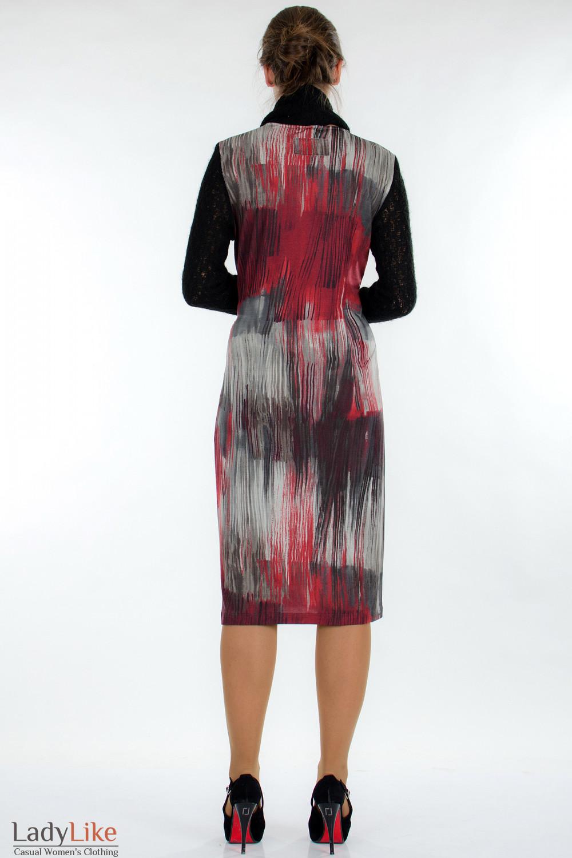 Платье пестрое с вязаными рукавами сзади Деловая женская одежда