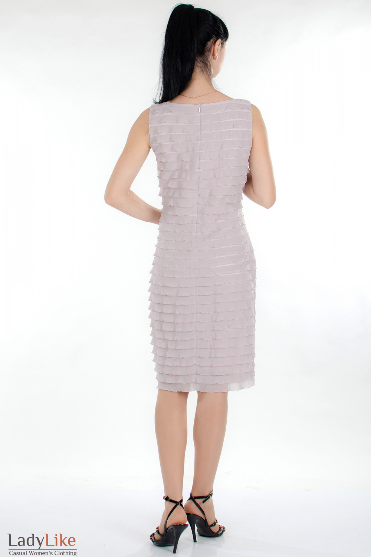 Платье розовое в рюши вид сзади Деловая женская одежда