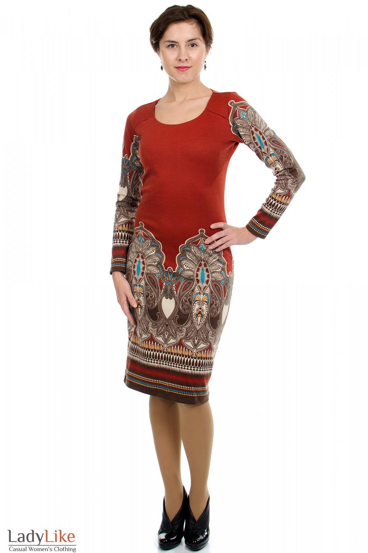 Платье с узором рыжее Деловая женская одежда