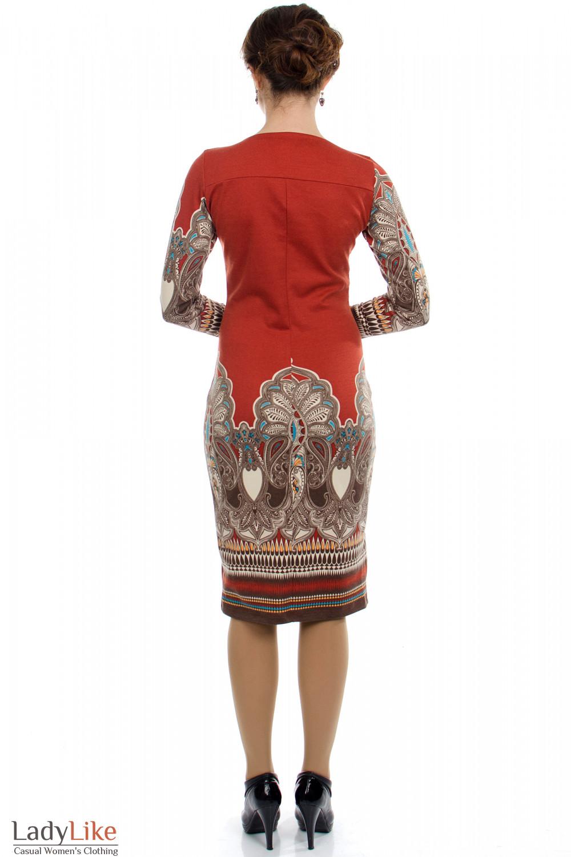 Платье с узором рыжее вид сзади Деловая женская одежда