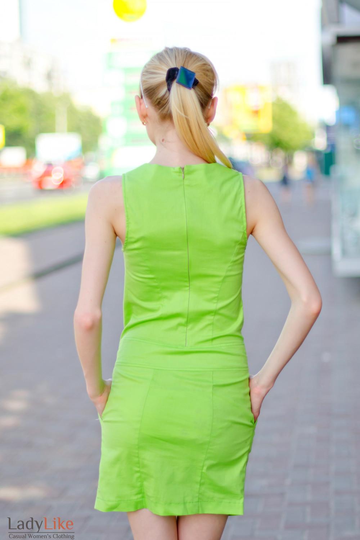 Платье салатовое с карманами вид сзади Деловая женская одежда