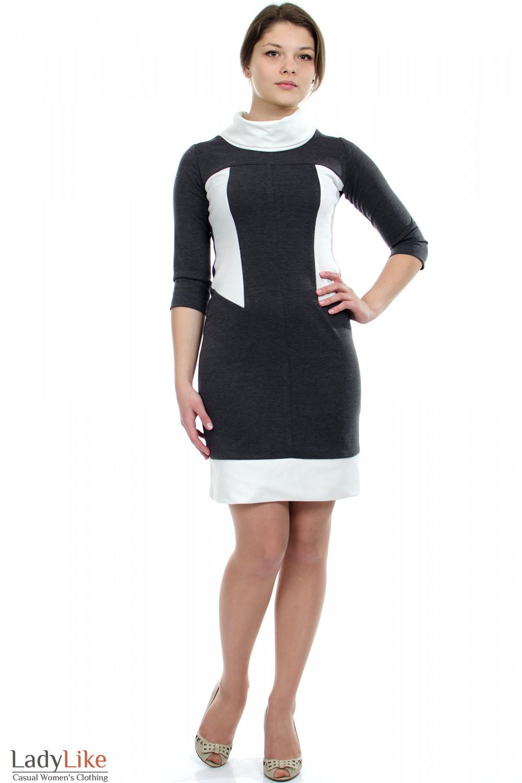 Платье серое с белым воротником