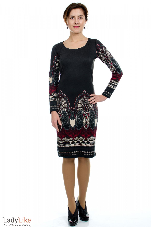 Платье серое с узором Деловая женская одежда