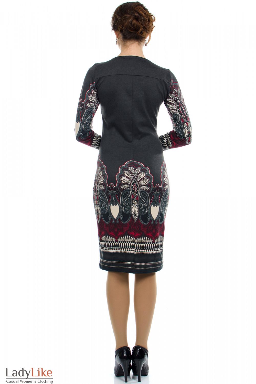 Платье серое с узором вид сзади Деловая женская одежда