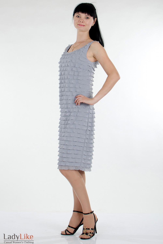 Платье серое в рюши фото Деловая женская одежда Деловая женская одежда
