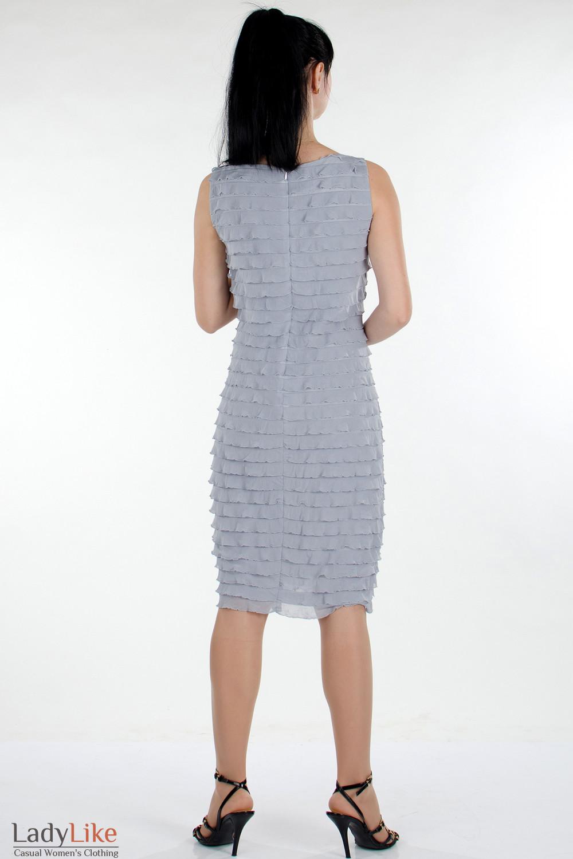 Платье серое в рюши сзади женская одежда