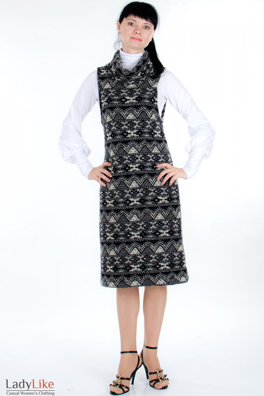 Платье шерстяное черное Деловая женская одежда