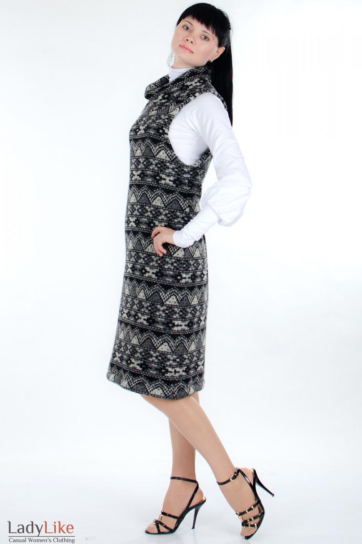 Платье шерстяное черное сбоку Деловая женская одежда