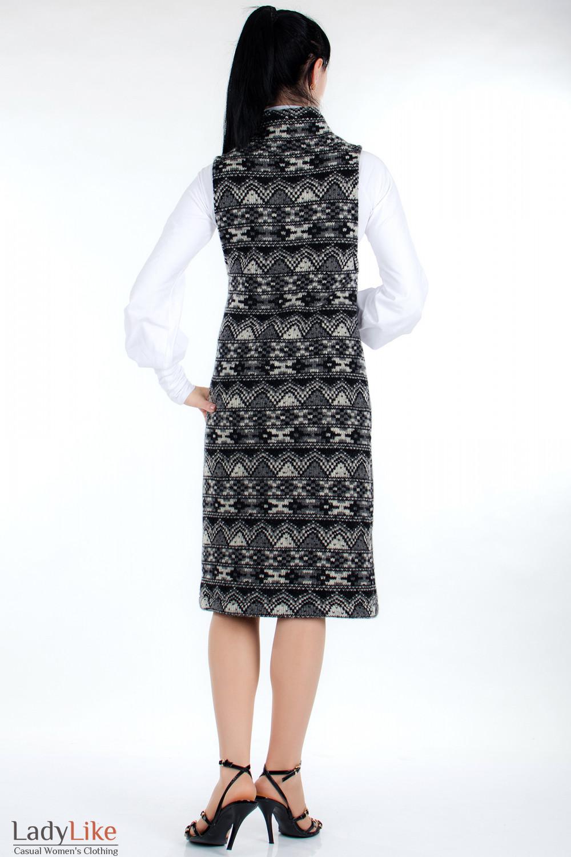 Платье шерстяное черное сзади Деловая женская одежда