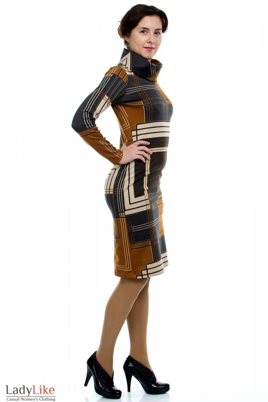 Платье трикотажное Геометрия вид сбокуДеловая женская одежда