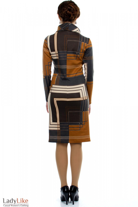 Платье трикотажное Геометрия вид сзади Деловая женская одежда