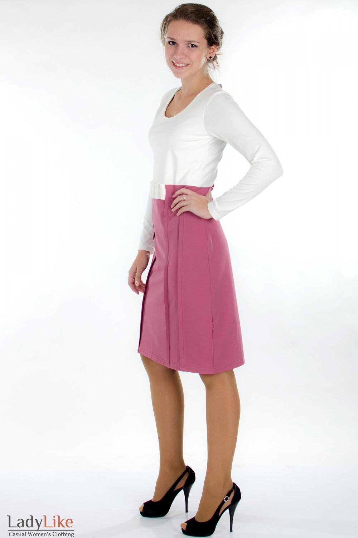 Платье трикотажное молочно-розовое Деловая женская одежда