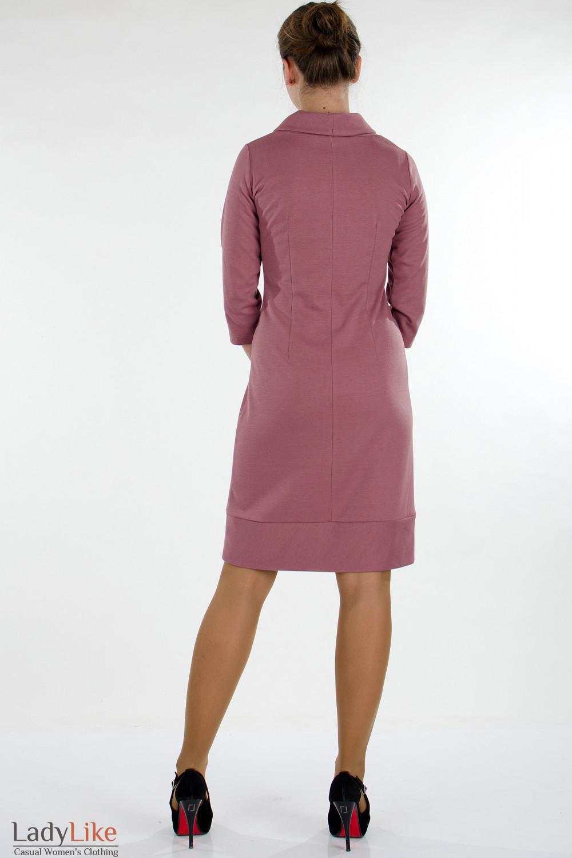 Платье трикотажное розовое вид сзади Деловая женская одежда
