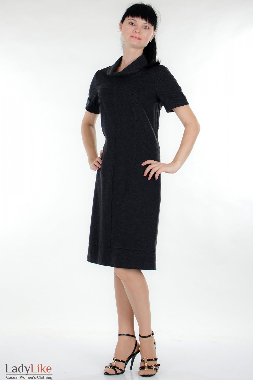 Платье трикотажное серое Деловая женская одежда