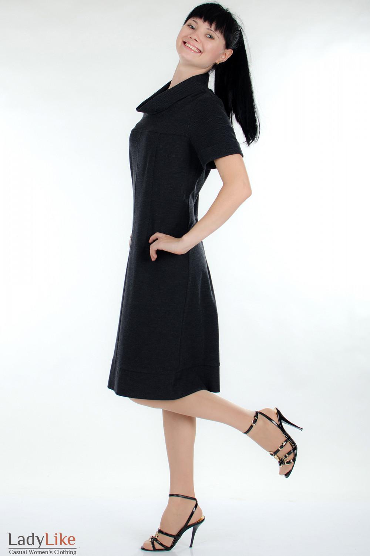 Платье трикотажное серое вид сбоку Деловая женская одежда
