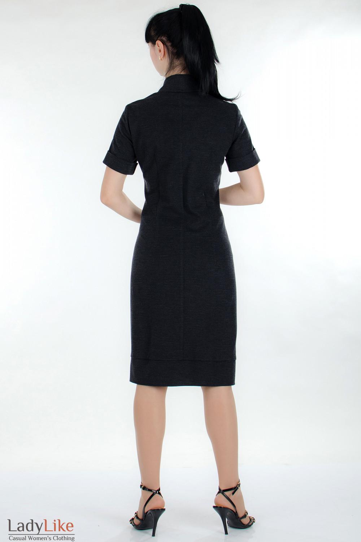Платье трикотажное серое вид сзади Деловая женская одежда