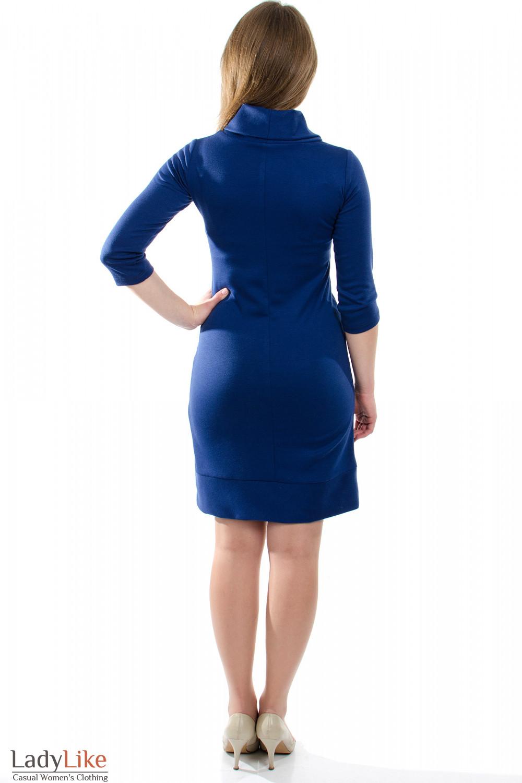 Платье трикотажное синее вид сзади Деловая женская одежда