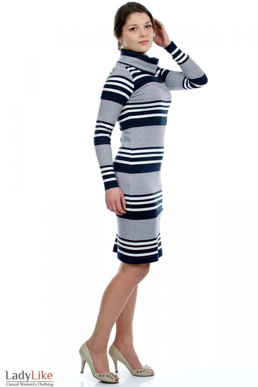 Платье в полоску  Деловая женская одежда