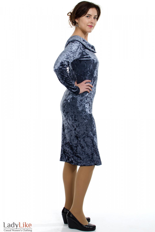 Платье вечернее серое вид сбоку Деловая женская одежда