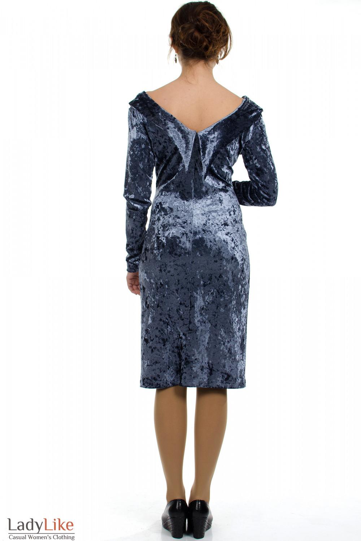 Платье вечернее серое вид сзади Деловая женская одежда