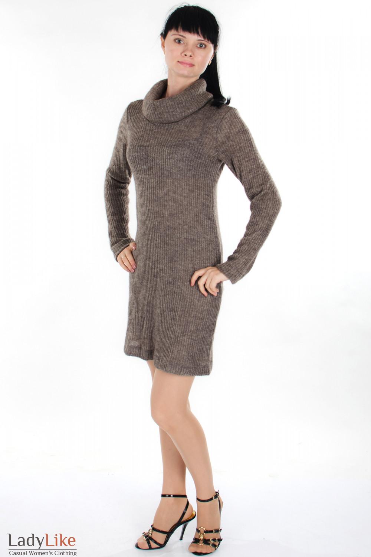 Платье вязаное коричневое Деловая женская одежда