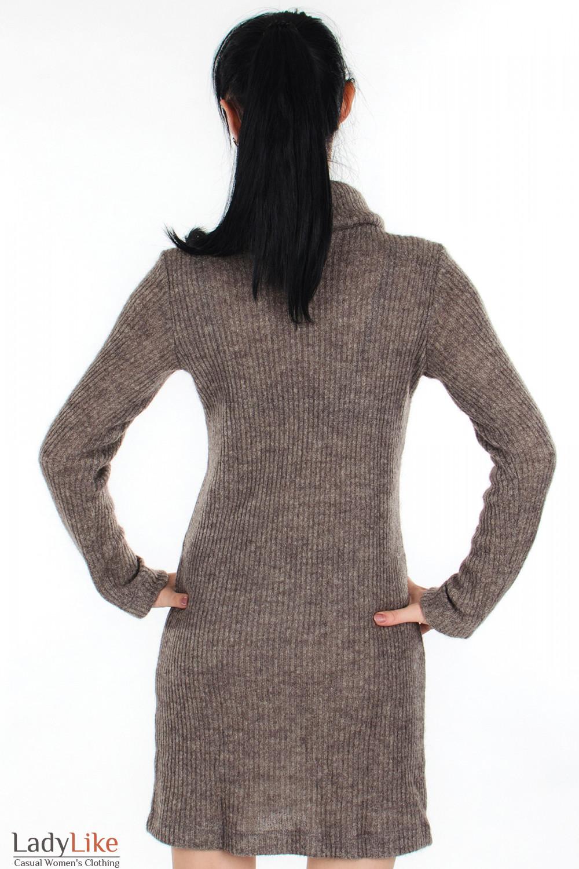 Платье вязаное коричневое вид сзади Деловая женская одежда