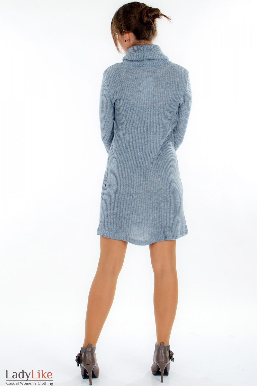 Платье вязаное серое вид сзади  Деловая женская одежда