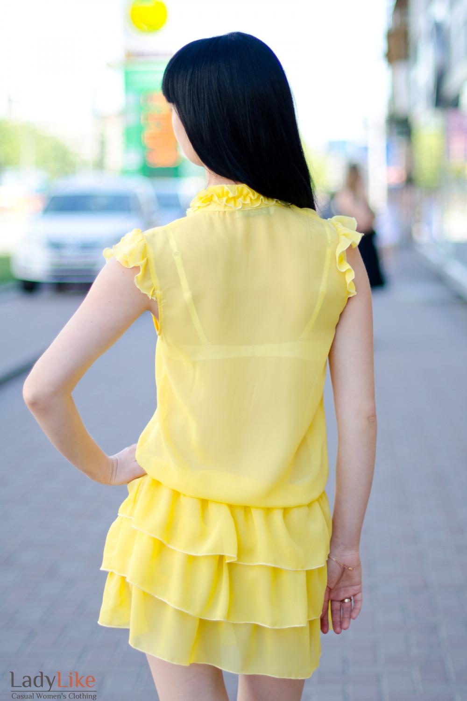 Платье желтое с рюшами вид сзади Деловая женская одежда