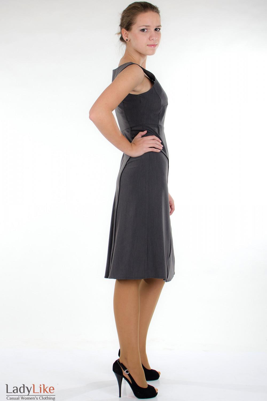 Сарафан классический серый вид сбоку Деловая женская одежда