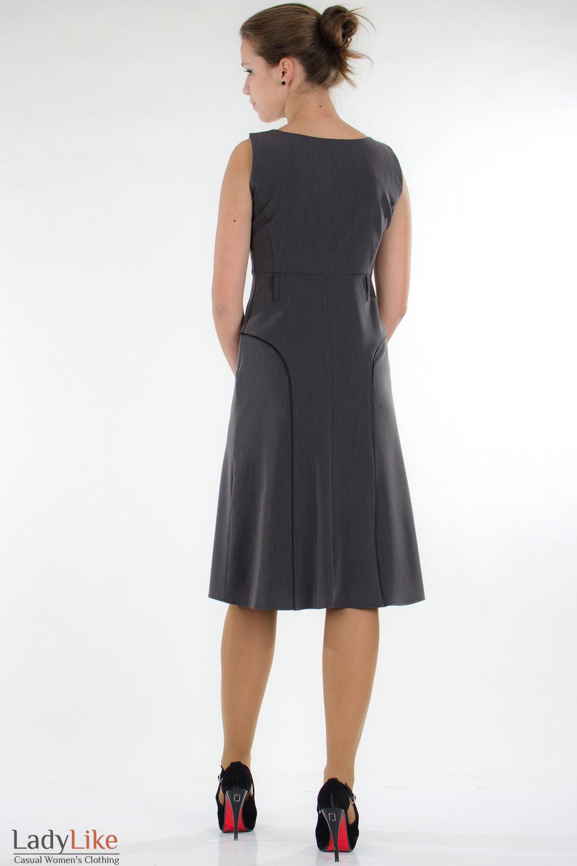 Сарафан классический серый вид сзади Деловая женская одежда