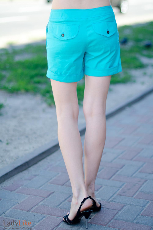 Шорты голубые вид сзади Деловая женская одежда