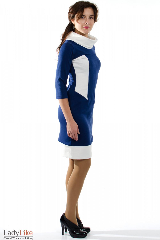 Синее платье с белым воротником вид сбоку Деловая женская одежда