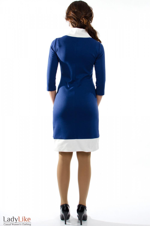 Синее платье с белым воротником Деловая женская одежда