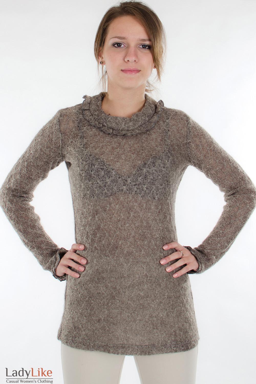 Свитер коричневый вид спереди  Деловая женская одежда