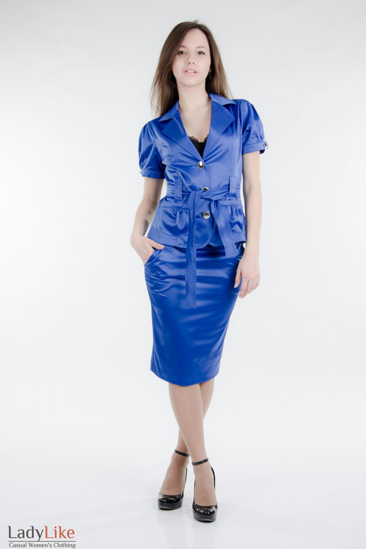 Юбка-карандаш с карманами индиго Деловая женская одежда