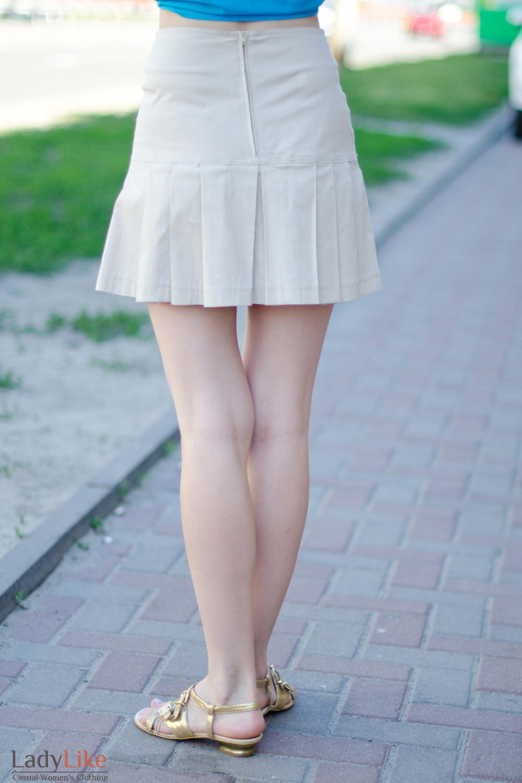 Юбка бежевая летняя вид сзади Деловая женская одежда