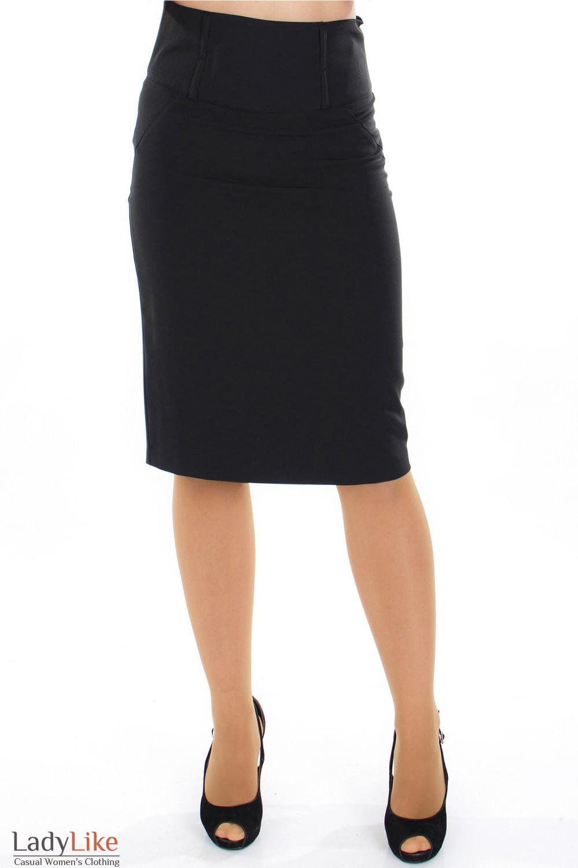 Юбка черная с высокой талией вид спереди Деловая женская одежда