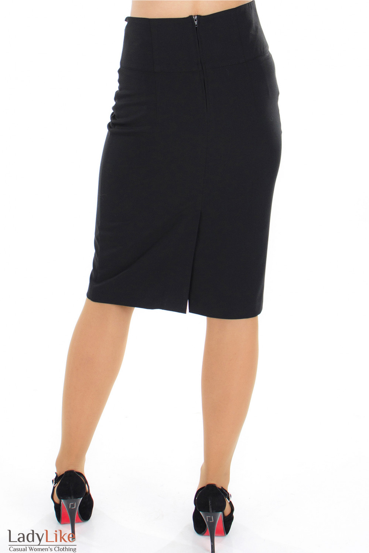 Юбка черная с высокой талией вид сзади Деловая женская одежда