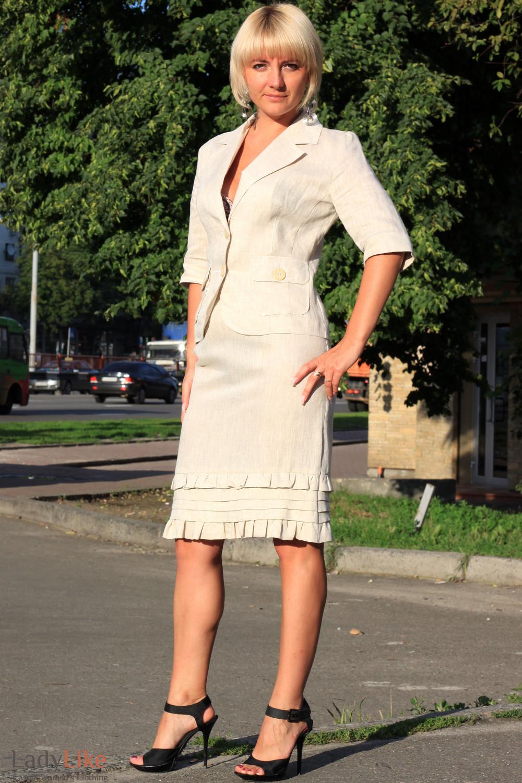 Юбка льняная с рюшами Деловая женская одежда