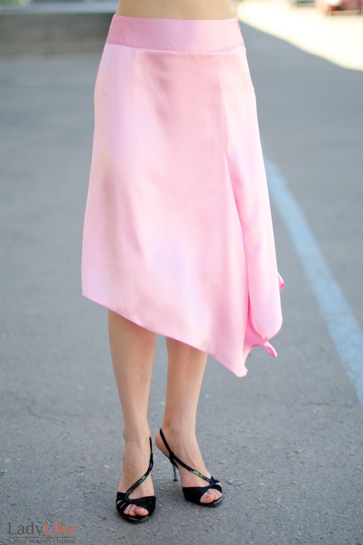 Юбка розовая летняя вид спереди Деловая женская одежда