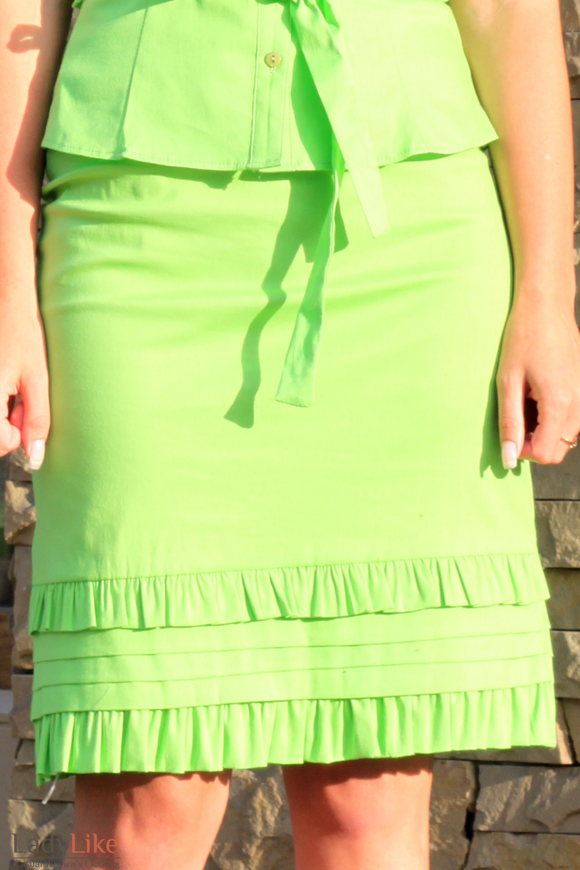 Юбка салатовая с рюшами Деловая женская одежда