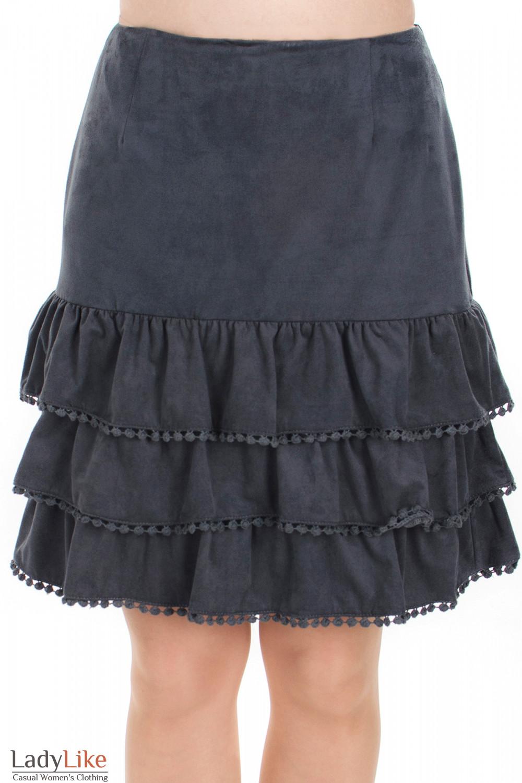 Юбка серая с рюшами вид спереди Деловая женская одежда