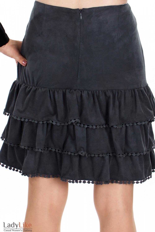 Юбка серая с рюшами вид сзади Деловая женская одежда