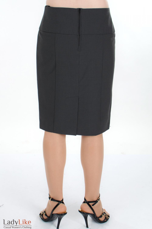 Юбка серая в полоску вид сзади Деловая женская одежда