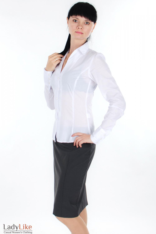 Юбка серая в полоску вид сбоку Деловая женская одежда