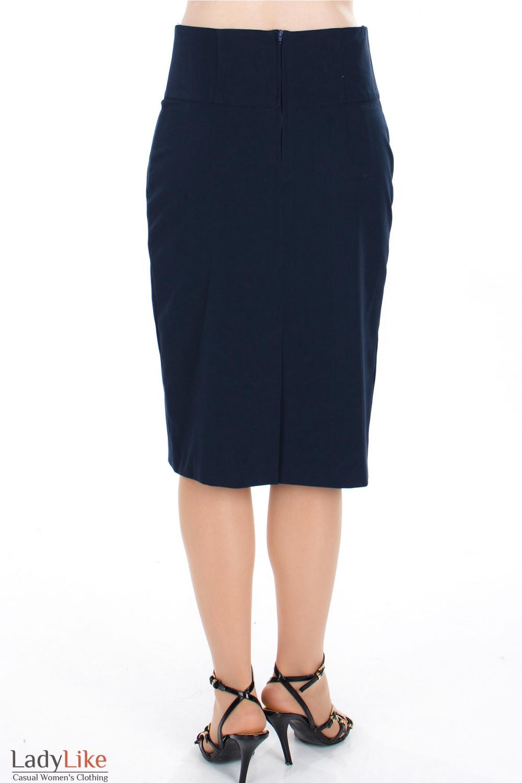 Юбка синяя с высокой талией вид сзади Деловая женская одежда