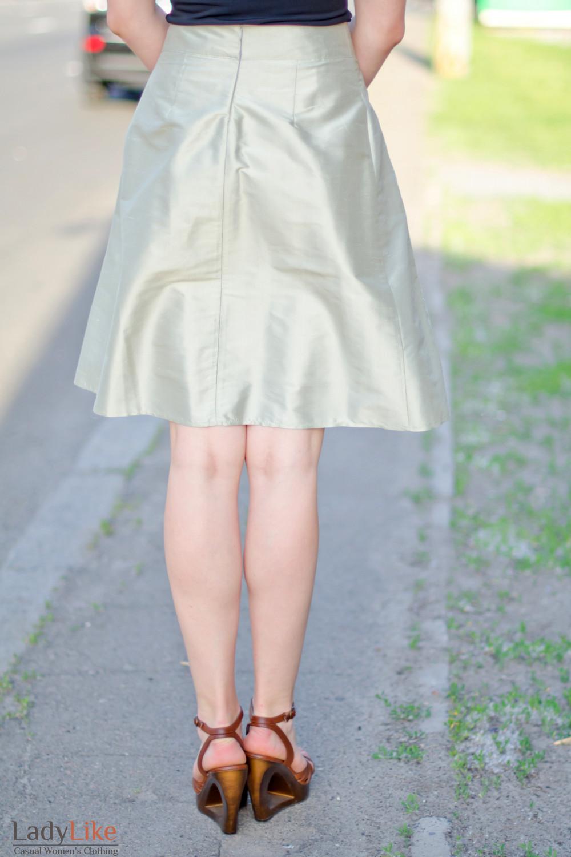 Юбка со складками бронзовая Деловая женская одежда